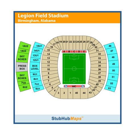 legion field seating chart legion field stadium events and concerts in birmingham