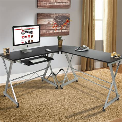 wood l shape corner computer desk pc laptop table