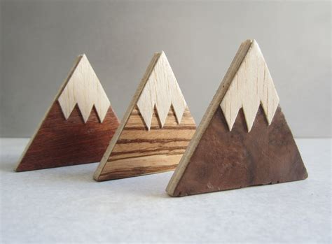 Wood Handmade - magnet mountains handmade wood fridge magnets set of 3
