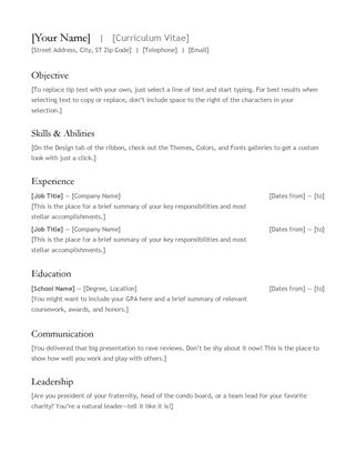Cv Resume Microsoft Office Templates Cv
