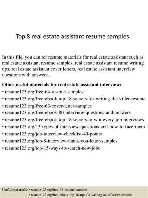 Resume Sles Real Estate Assistant Top 8 Real Estate Assistant Resume Sles