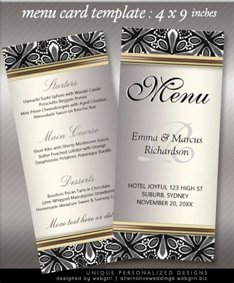 Menu Cards Template 9x4in Rack Cards For Weddings Events Menu Cards For Wedding Reception Template