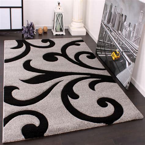 dänische teppiche designer teppich mit konturenschnitt modern grau schwarz