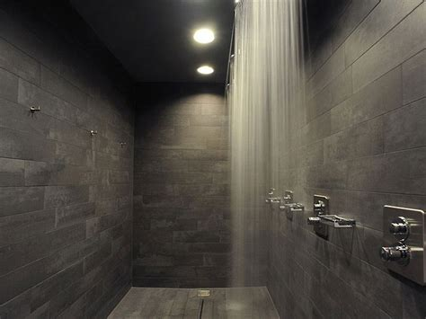 dark bathroom tile modern dark shower tile with a curtain of water available