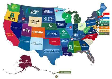 things to do in every state this map shows the biggest bank from every state