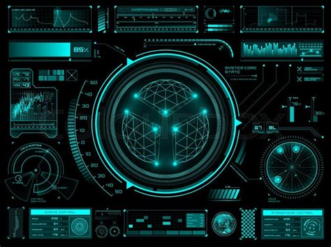 Home Blueprint Software set of futuristic user interface elements for dashboard or