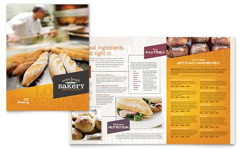 artisan bakery menu template word publisher