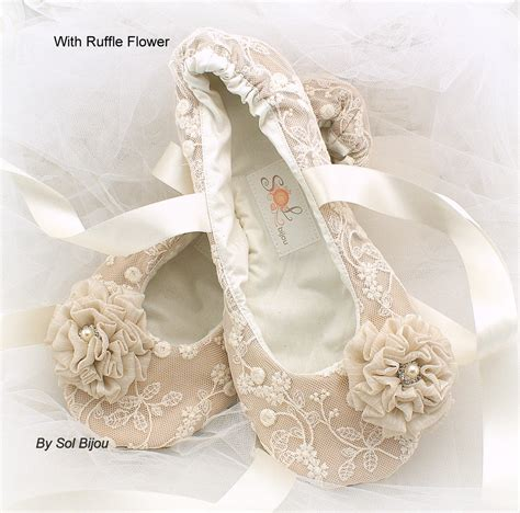 ivory slippers wedding ballet flats chagne beige ivory wedding