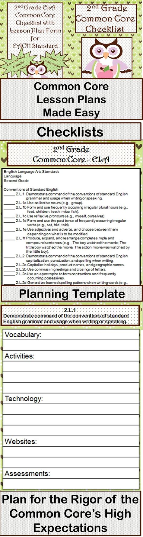 2nd grade ela common core checklist lesson planning form