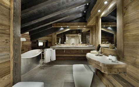 Luxury Ski Chalet Chalet Edelweiss Courchevel 1850 Rustic Spa Bathroom