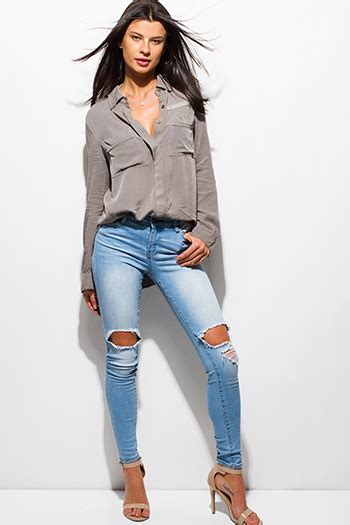 Ripped Cut Out Navy clothes affordable designer clothes boutique affordable clothes cheap and