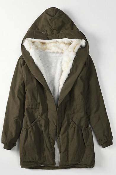 Fleece Lined Drawstring winter fleece lined drawstring waist hooded coat with