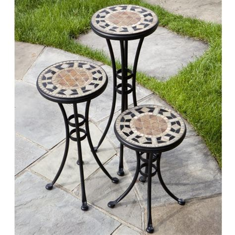 Patio Plant Stand by San Marco Marble Mosaic Plant Stands