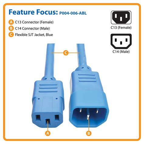 tripp lite 6ft computer power extension cord 10a 18 awg c14 c13 orange 6 rallonge de cable d standard computer power extension cord 10a 18 awg c14 c13 blue 6ft p004 006 abl tripp lite