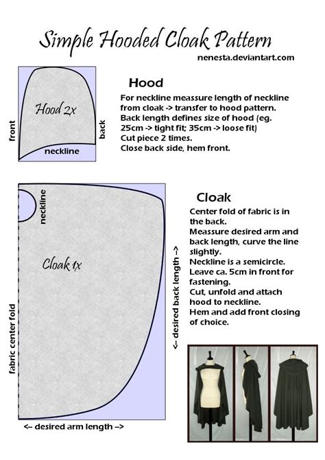 pattern simple form simple hooded cloak pattern by nenesta on deviantart a