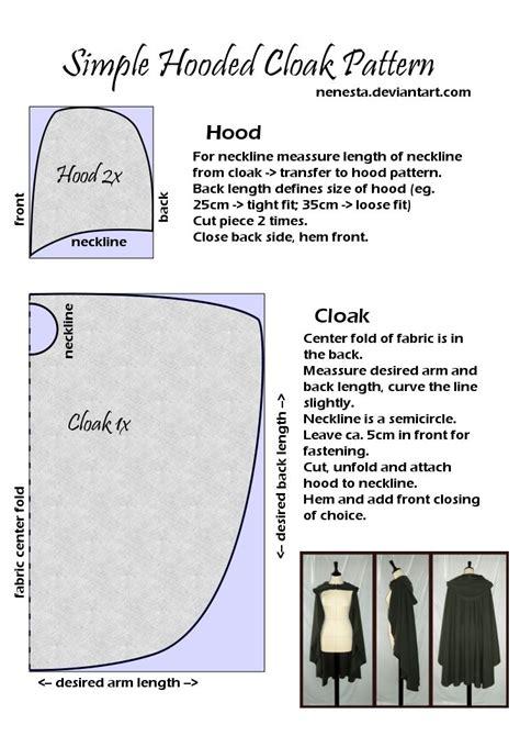 free pattern hooded cape simple hooded cloak pattern by nenesta on deviantart a