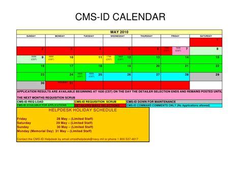 Cms Calendar 2015 2010 Cms Id Schedule Calendar Style