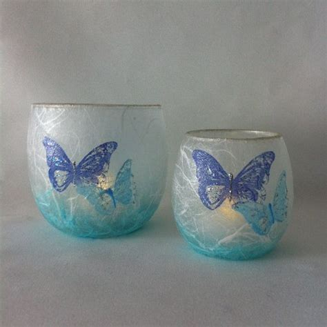 Butterfly Candle Holder butterfly strawsilk candle holder set in shades of blue