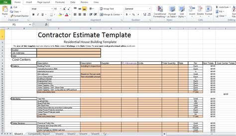 free contractor estimate template excel excel tmp