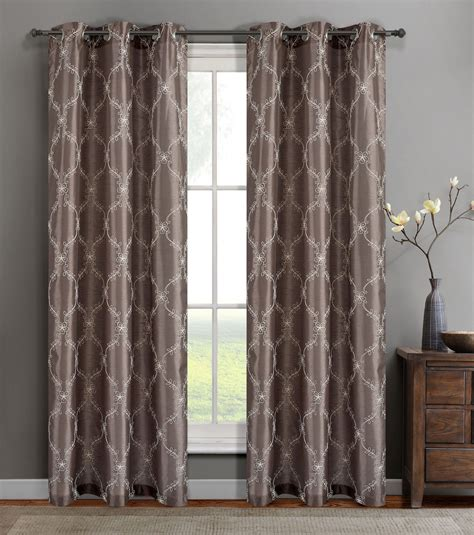Silk Window Treatments Single Gael Taupe Faux Silk Window Curtain Panels W Grommets