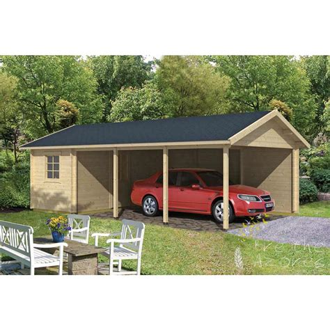 carport plans with storage ever log cabin carport plus storage shed 7 7m x 4 3m