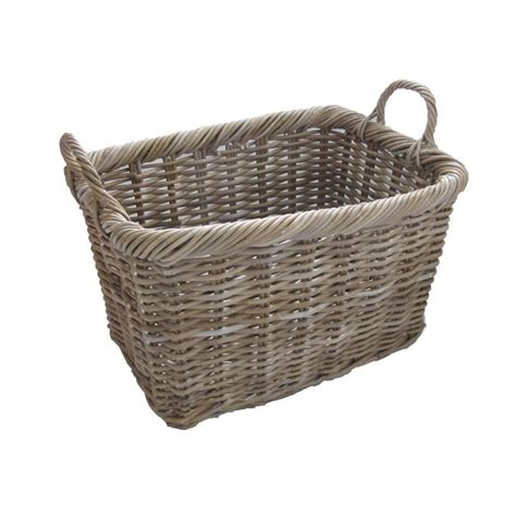 rattan baskets grey buff rattan rectangular wicker log basket
