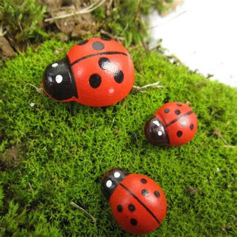 micro landscape wooden ladybug home garden landscaping