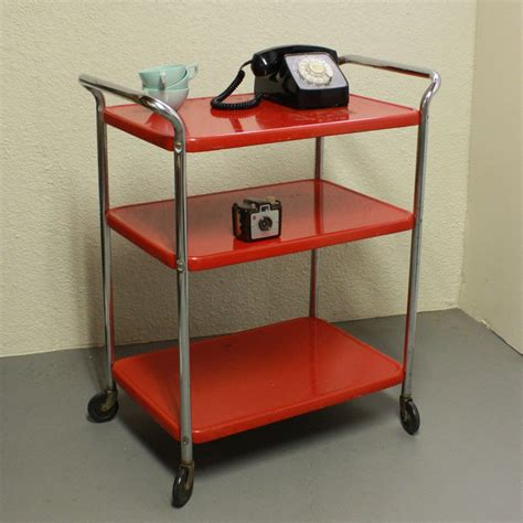Red Kitchen Island Cart Vintage Metal Cart Serving Cart Kitchen Cart By Oldcottonwood