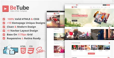 themeforest free html templates themeforest betube download video html template