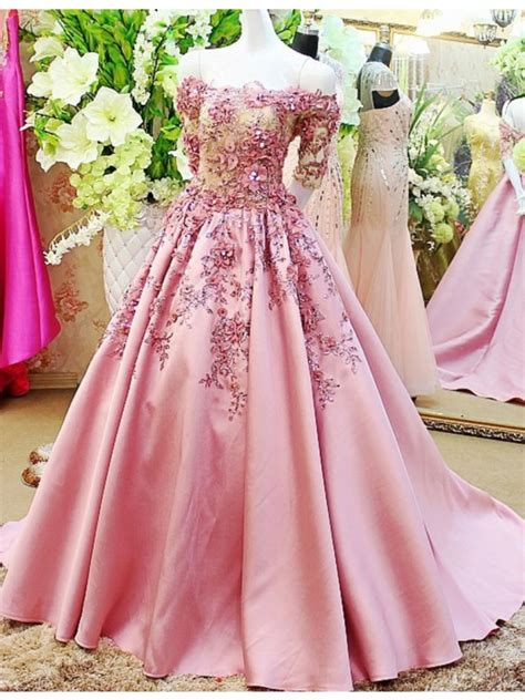 Sleeve A Line Evening Gown a line the shoulder sleeve pink prom