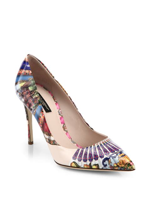 Dg Dolce And Gabbana Sandie Linen And Patent Tote by Dolce Gabbana Printed Patent Leather Point Toe Pumps Lyst