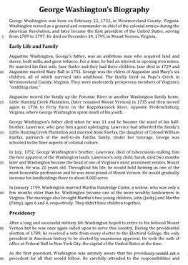 George Washington Biography Esl | 14 free esl washing worksheets