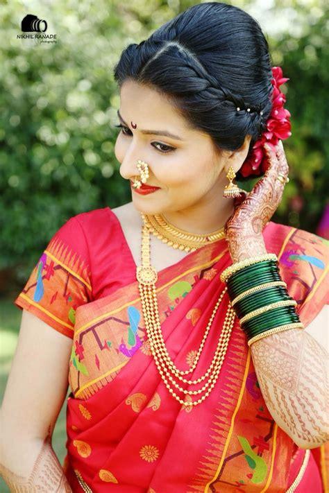 braided hairstyles on saree maharashtrian bride wearing traditional saree and bridal