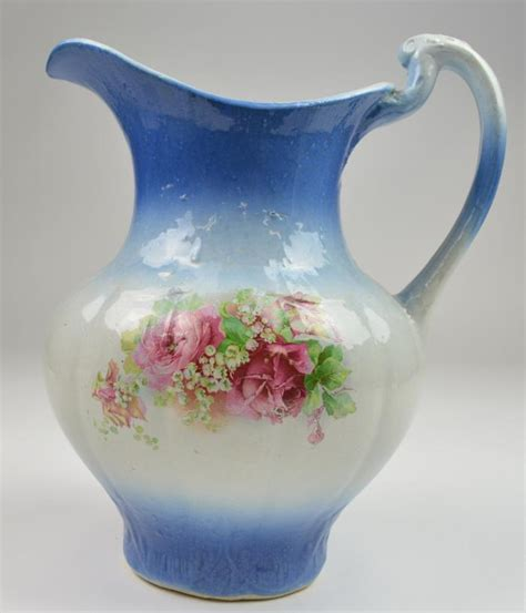 Handmade Wash Basin - vintage handmade pitcher wash basin bush floral