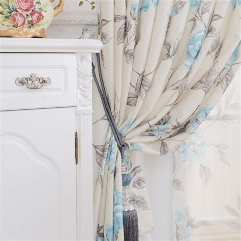 Blue And White Floral Curtains Affordable White Blue Polyester Suede Floral Curtains