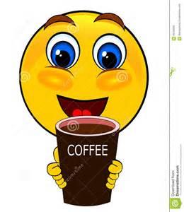 smile emoticons drink coffee stock illustration image