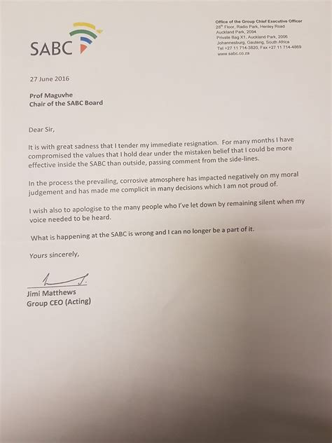 Resignation Letter Za sabc of news jimi matthews has resigned with immediate effect
