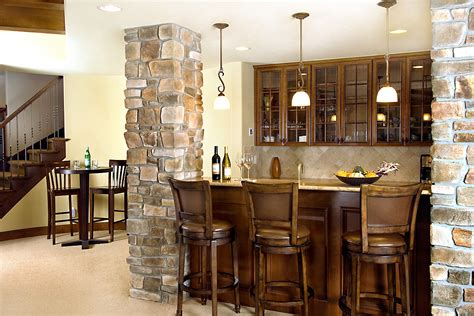 home basement bar design idea with wooden bar table and