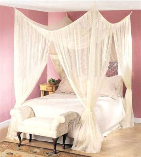 Mosquito Net Bed Canopy 4 Post Bed Canopy Dreamma Four Corner Mosquito Bug Net King Size Insect Ebay