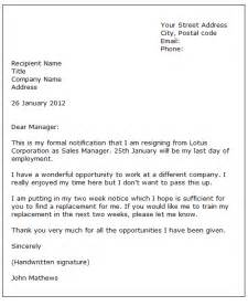 Resignations Letter Exles by Formal Letter Sle Sle Letter Of Resignation