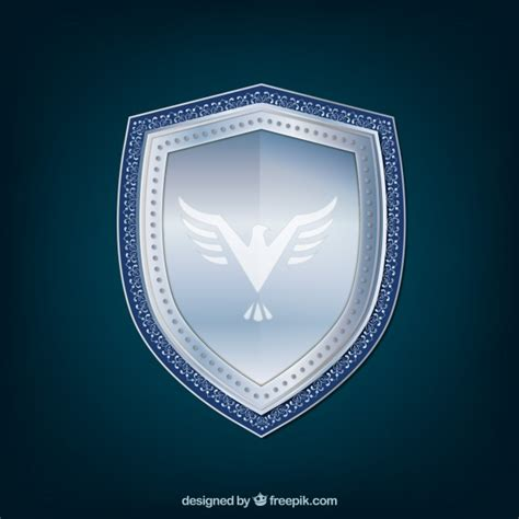 shield background silver shield background with eagle vector free