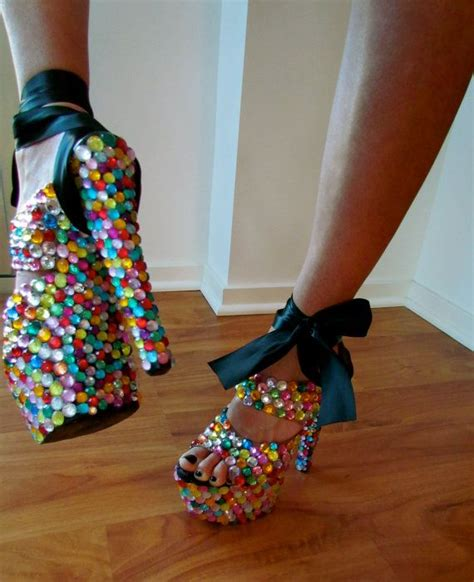 bedazzled high heels colorful gemmed bedazzled heels by crypticco on etsy