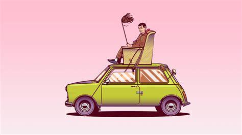 bean sitting  top   car vector art hd funny