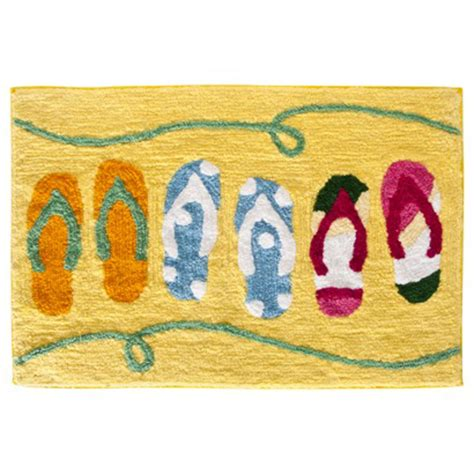 Flip Flop Bath Rug Sun And Sand Flip Flop Yellow Themed Cotton Bath Mat Bathroom Rug Accent Ebay