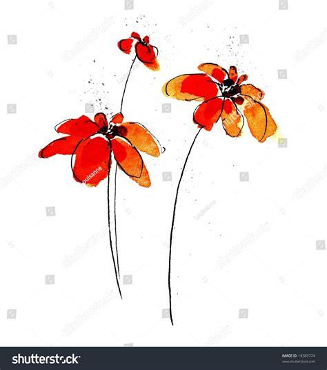 handpainted minimalist daisy flower illustration on stock