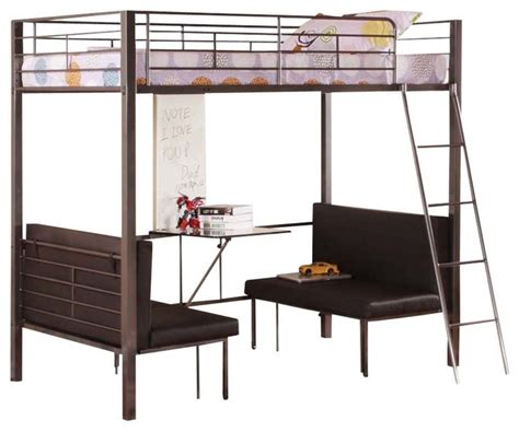 Twin Size Metal Bunk Loft Bed With Adjustable Seat Desk and Attached Ladder   Contemporary