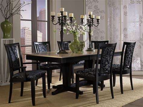 Two Toned Dining Room Sets by Stylish Dining Room Set Idea With Black Floral Upholstered Chairs And Two Tone Dining Table And