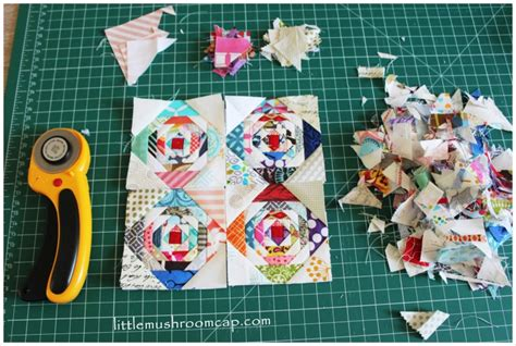 paper pattern of vdo paper pieced 3 quot pineapple log cabin block mini quilt