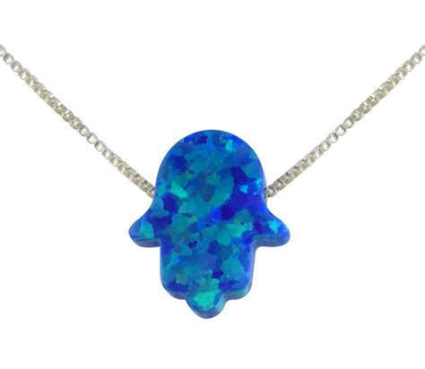 blue opal necklace ajudaica blue opal hamsa hand necklace ajudaica com