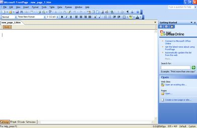 microsoft office frontpage 2003 create a frames page template based
